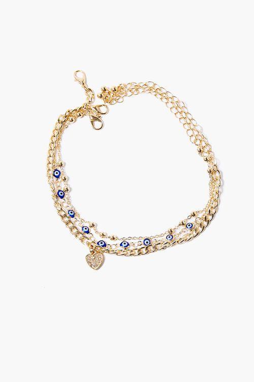 GOLD Heart & Eye Charm Bracelet Set, image 2