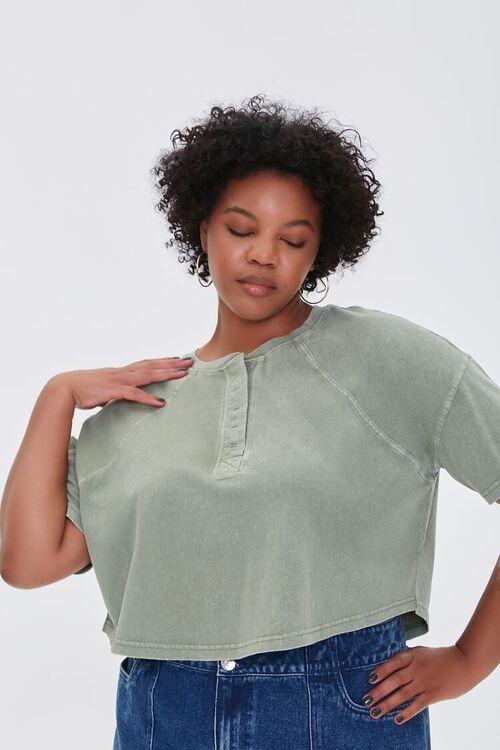 Plus Size Raglan Henley Tee, image 1