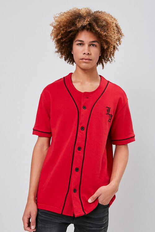 Embroidered LA Graphic Baseball Jersey, image 2