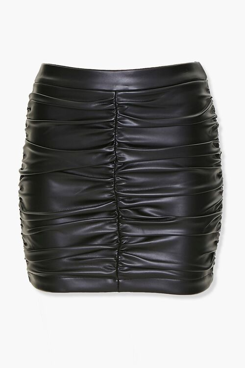 Ruched Faux Leather Mini Skirt, image 1