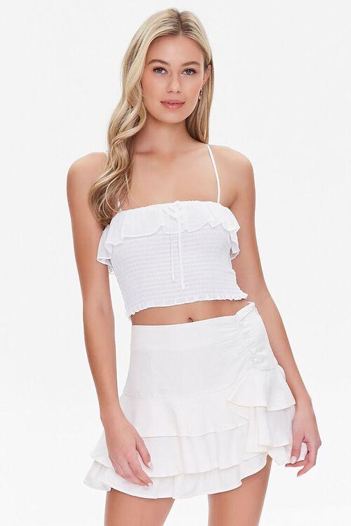 Ruffled Linen-Blend Mini Skirt, image 1