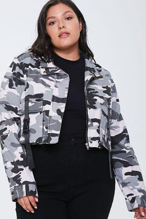 Plus Size Camo Print Jacket, image 1