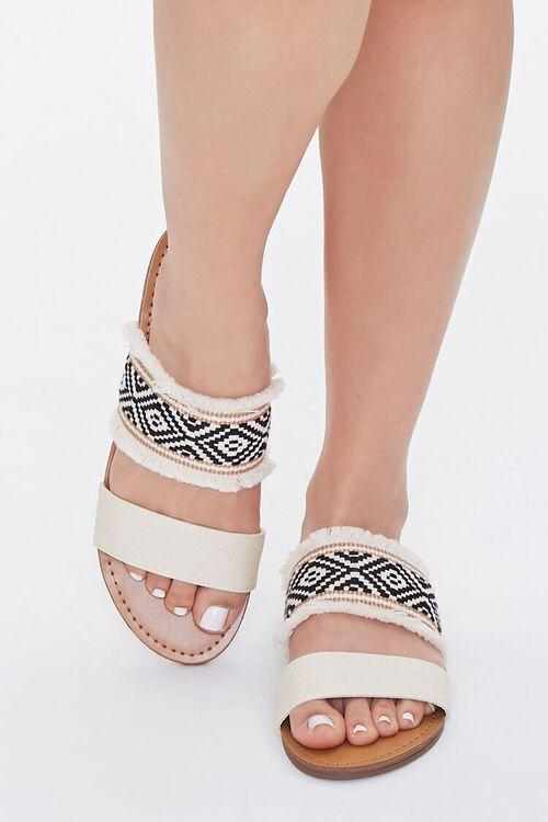 BEIGE Geo Print Frayed Sandals, image 4