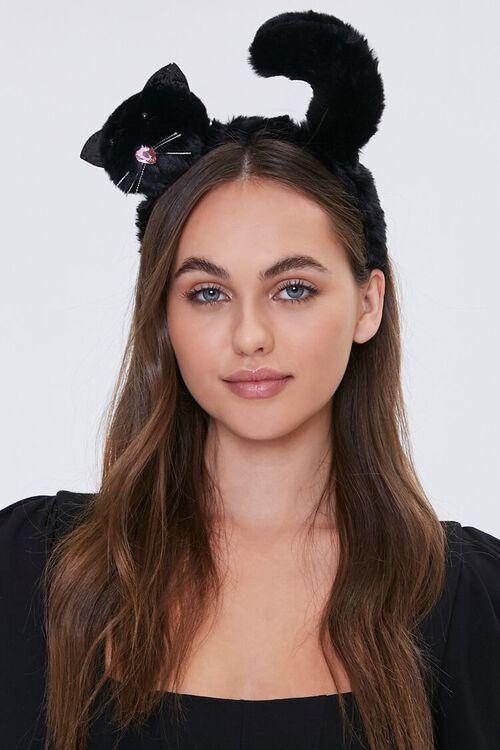 BLACK Plush Cat Headband, image 1