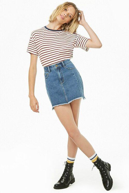 Step Hem Denim Mini Skirt, image 5