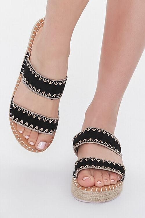 BLACK Threaded Espadrille Flatform Sandals, image 4