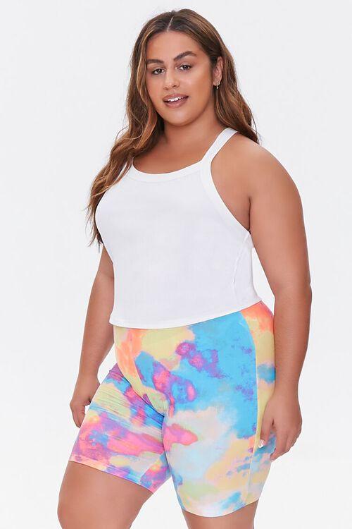 Plus Size Tie-Dye Biker Shorts, image 1