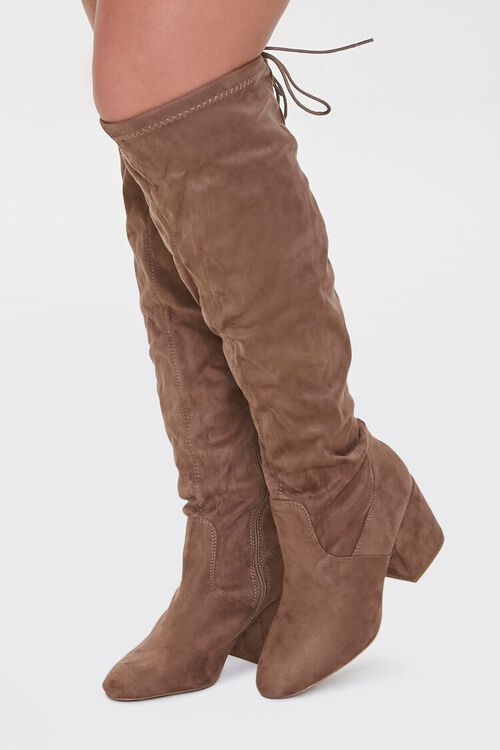 Faux Suede Self-Tie Boots (Wide), image 1