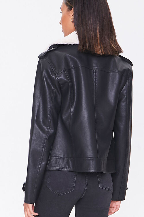 Faux Leather & Shearling Moto Jacket, image 3