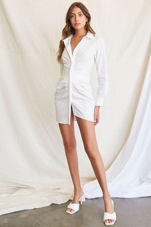 WHITE Ruched Shirt Mini Dress, image 4
