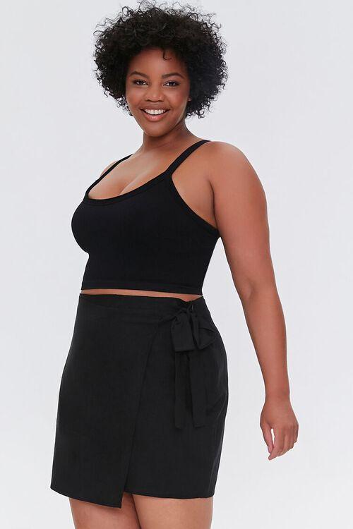 Plus Size Linen-Blend Self-Tie Skirt, image 1