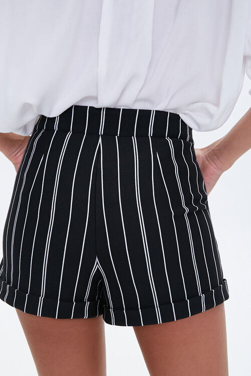 Pinstriped Cuff-Hem Shorts, image 3