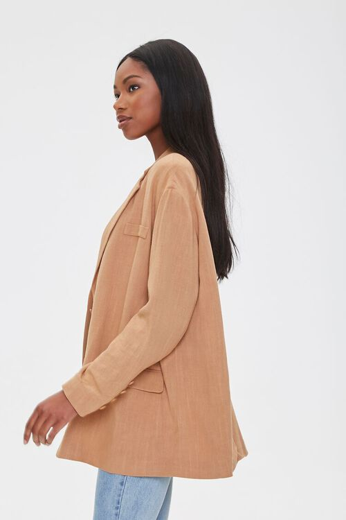 Linen-Blend Button-Front Blazer, image 2