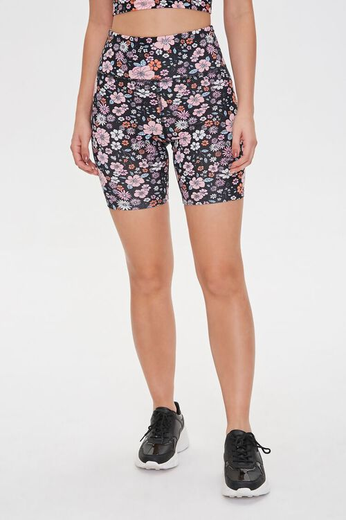 Active Floral Print High-Rise Biker Shorts, image 2