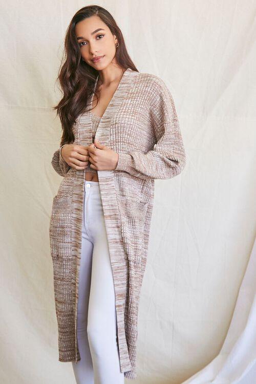 TAUPE/MULTI Longline Cardigan Sweater, image 2