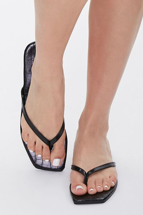 Faux Croc Leather Toe-Thong Sandals, image 4