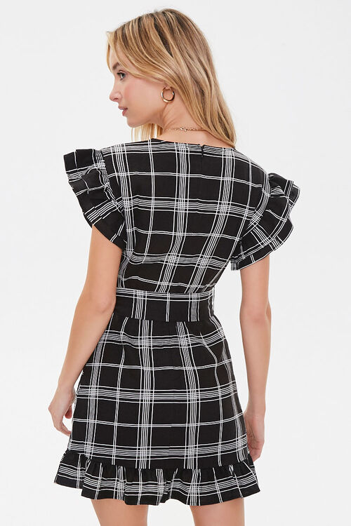 Grid Print Mock Wrap Dress, image 3