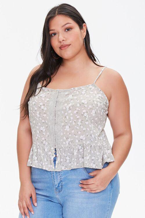 Plus Size Floral Buttoned Cami, image 1