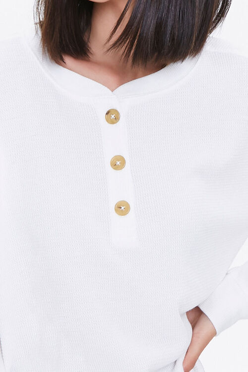 Waffle Knit Henley Top, image 6