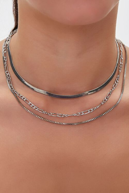 SILVER Layered Chain Necklace, image 1