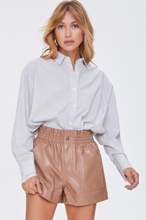 Faux Leather High-Rise Shorts, image 1