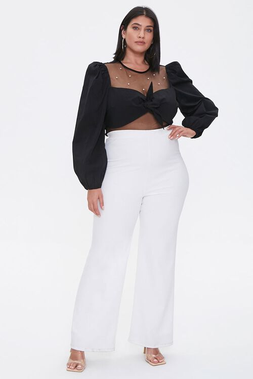 Plus Size Faux Pearl Knotted Crop Top, image 4