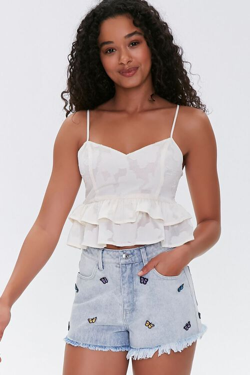 Butterfly High-Rise Denim Shorts, image 1