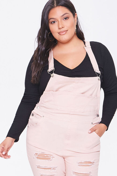Plus Size Distressed Overalls, image 1