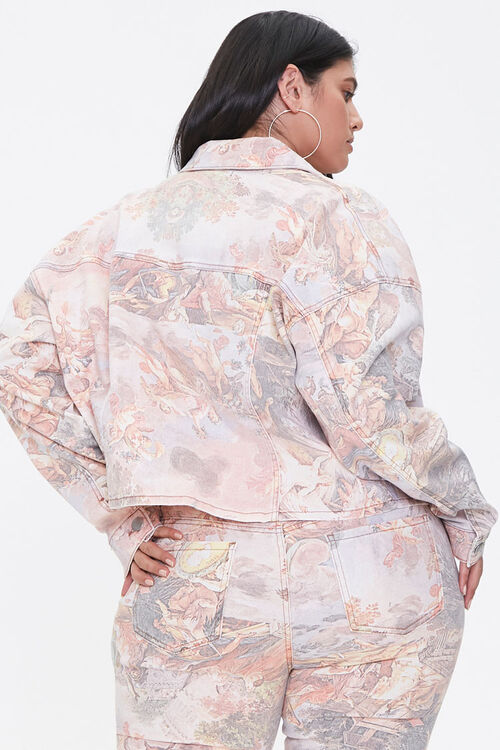 Plus Size Art Print Denim Jacket, image 3