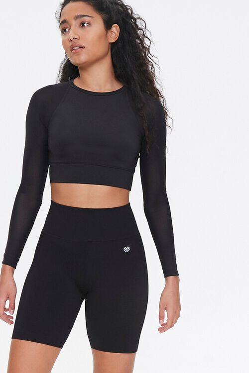 BLACK Active Seamless Biker Shorts, image 1