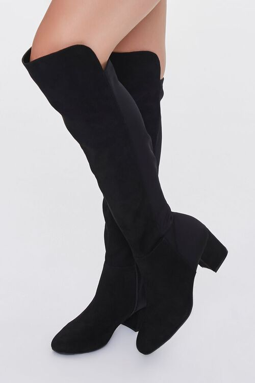 BLACK Faux Suede Knee-High Boots, image 5