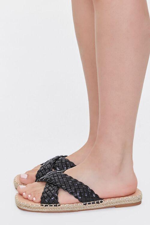 BLACK Crisscross Espadrille Flatform Sandals, image 2