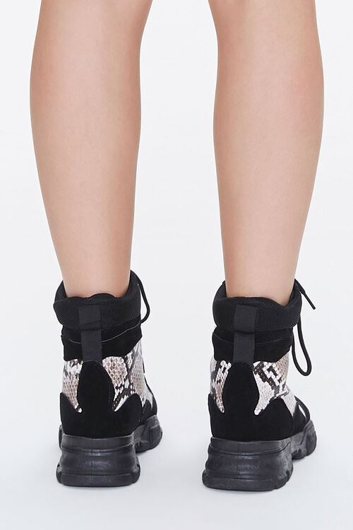 Faux Snakeskin Combat Boots, image 3