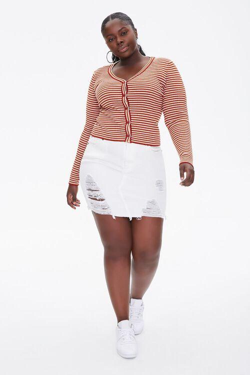 Plus Size Striped Cardigan Sweater, image 4