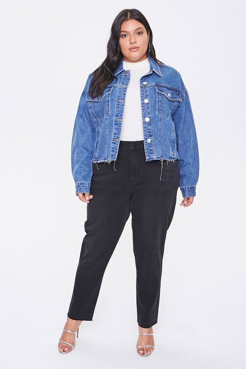 Plus Size Raw-Cut Denim Jacket, image 4