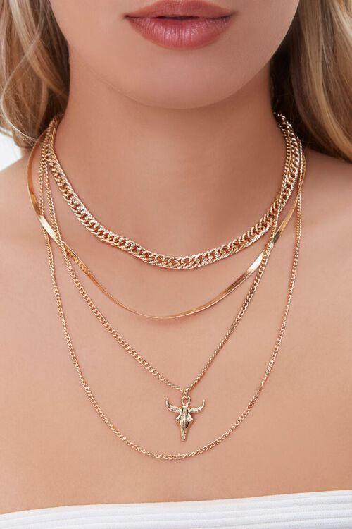 Bull Pendant Layered Necklace, image 1