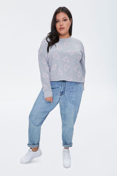 HEATHER GREY/MULTI Plus Size Candy Cane Heart Top, image 4