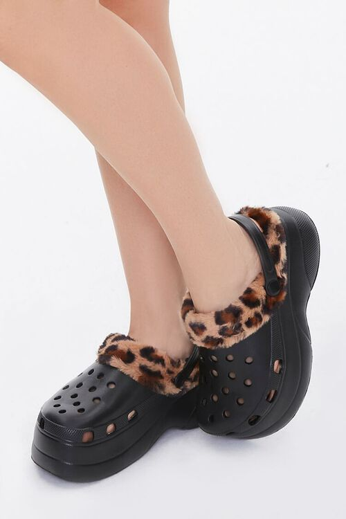 Leopard-Trim Perforated Wedges, image 1