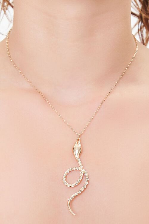GOLD/CLEAR Snake Pendant Chain Necklace, image 1