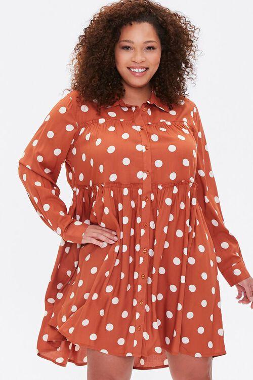 RUST/IVORY Plus Size Polka Dot Shirt Dress, image 1