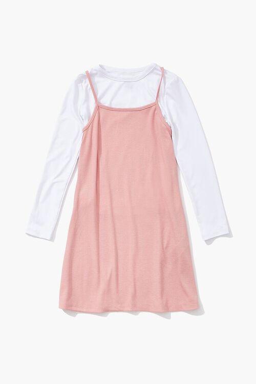 MAUVE/WHITE Girls A-Line Combo Dress (Kids), image 1
