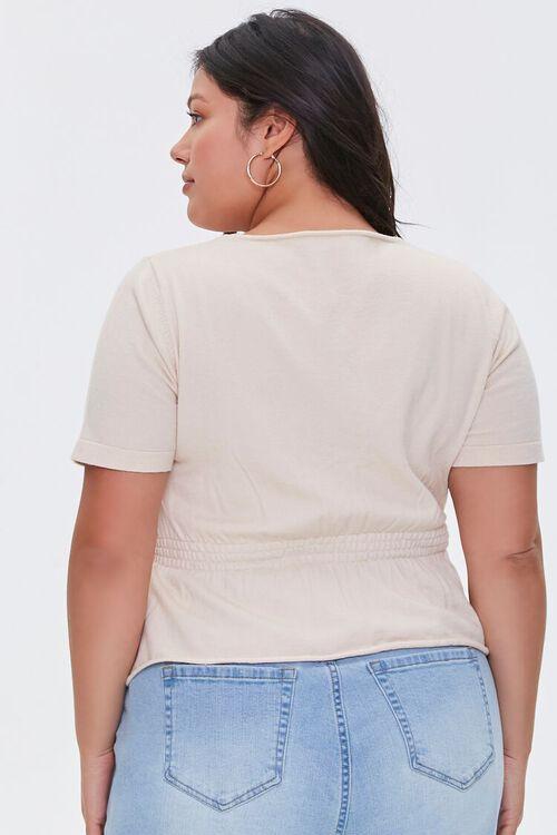 BEIGE Plus Size Lace-Up Flounce Top, image 3