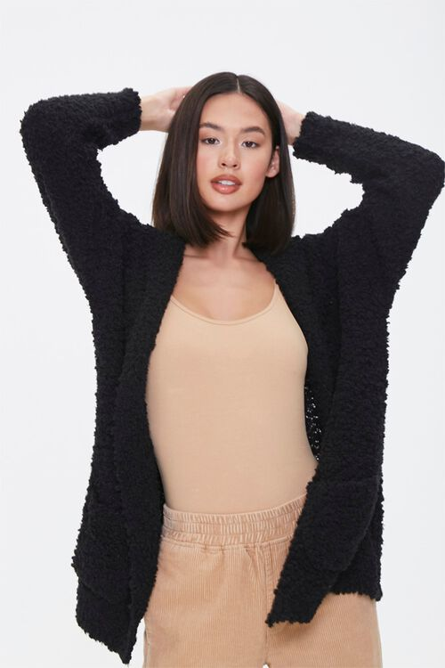 Textured Knit Open-Front Hoodie, image 1