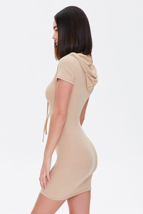 KHAKI Hooded Bodycon Mini Dress, image 2