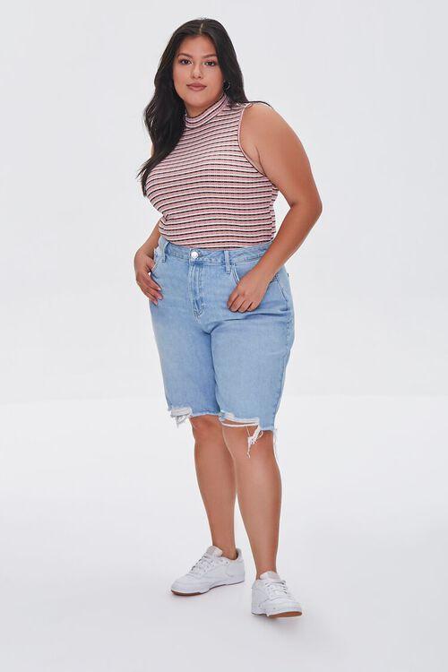 Plus Size Bermuda Denim Shorts, image 1