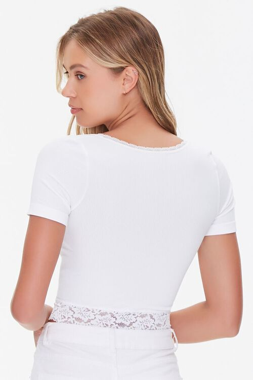 Lace-Trim Cropped Tee, image 3