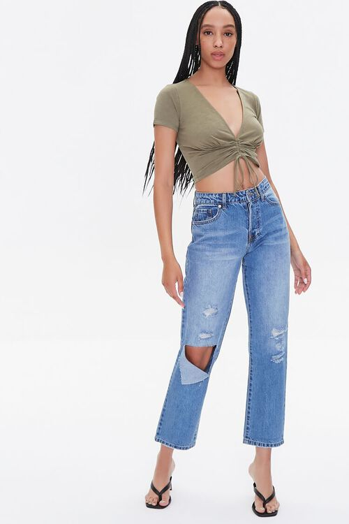Plunging Ruched Drawstring Tee, image 4