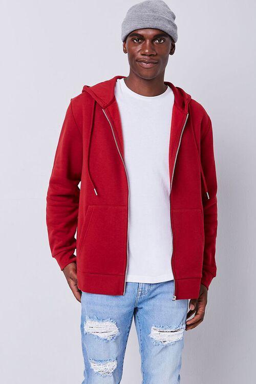 BURGUNDY Fleece Zip-Up Hoodie, image 1