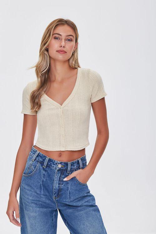 Short-Sleeve Cropped Cardigan, image 1