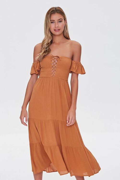 AMBER Lace-Up Off-the-Shoulder Midi Dress, image 1